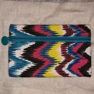Multicolored canvas makeup bag